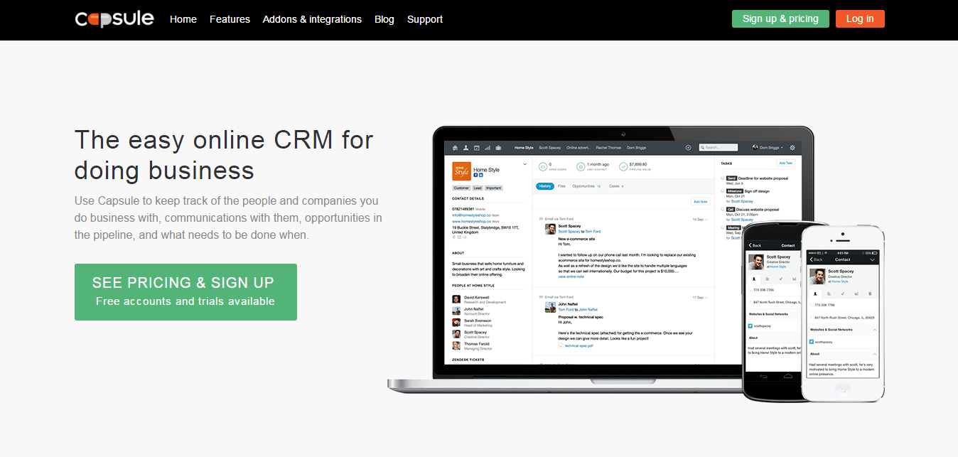 Capsule CRM-Screenshot