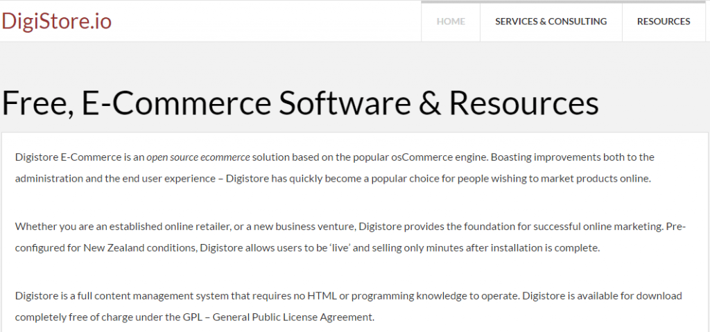 open source eCommerce Platform software-Digistore