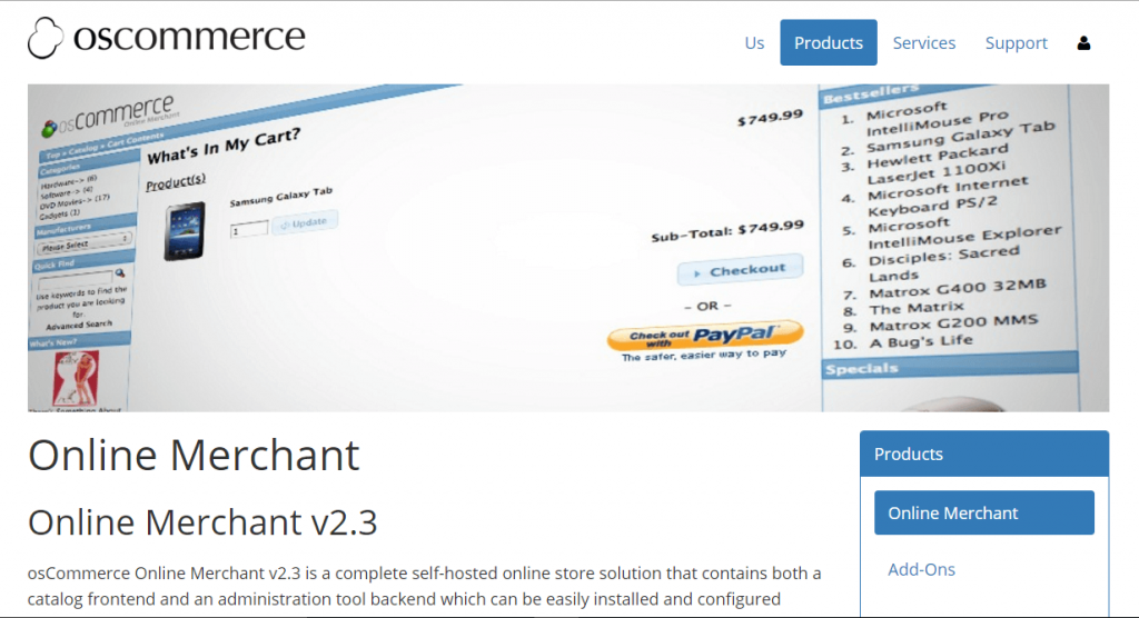 open source eCommerce Platform software - osCommerce