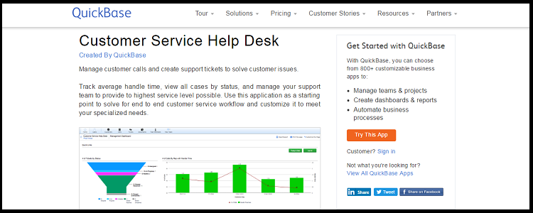 Quickbase- top 10 help desk software
