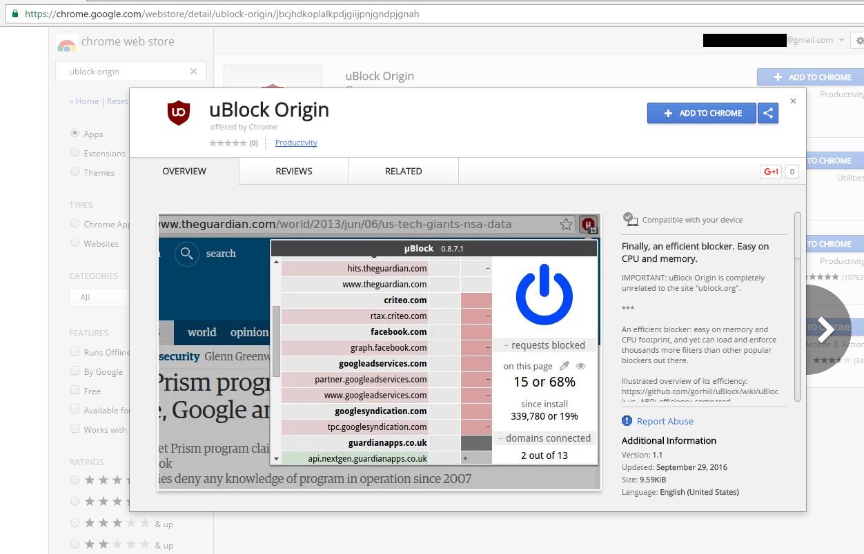 ublock origin dashboard