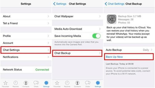 Back up iPhone WhatsApp Chat History Using iCloud