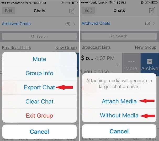 Back up iPhone WhatsApp Chat History on PC Using Email